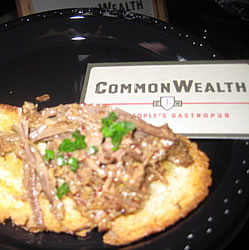 commonwealth: beef brisket on toasted baguette topped with scallions