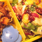 Mango Chicken Salad, Asian Sesame Salad, and Orange Chicken Bentos