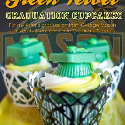 Green Velvet Graduation Cupcakes